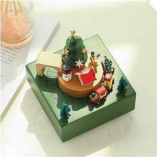 صندوق الموسيقى خشبي مرح جولة دوار الموسيقى عيد الميلاد مربع طفلة صغيرة كيد هدية عيد الديكور المنزل الرجعية خشبية الديكور م...