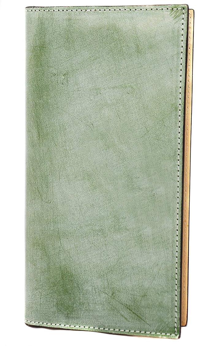 レキシコンシーンカストディアン極上イタリア製ブライドルレザー 二つ折り長財布 本革 ヌメ革 グリーン ME0276_c2
