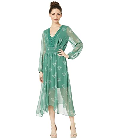 kensie Delicate Spring Long Sleeve Dress With Lace Detail KS4K8359 (Planter Green Combo) Women