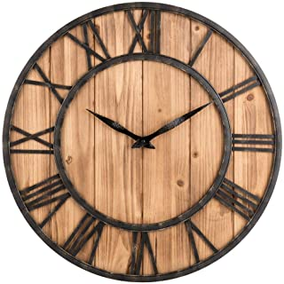 Upuptop Farm House Metal & Solid Wood Wall Clock Kitchen Wall Clock (Rustic Barn Vintage Bronze, 16-inch)