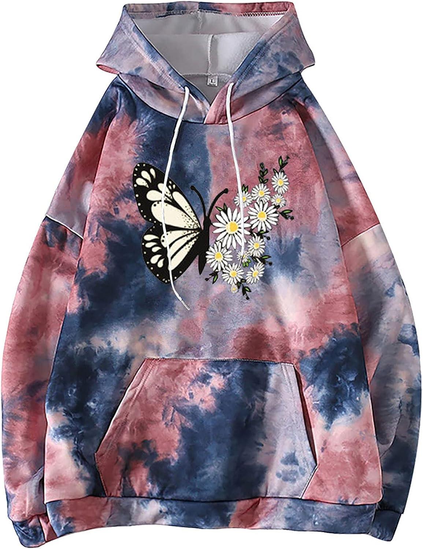 Women's Fashion Hoodies & Sweatshirts Plus Size Tie Dye Trendy Drop Sleeve Shirt Pocket Little Cute Print Blouse