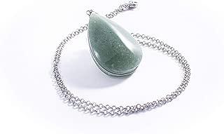 Collar De Jadeíta Verde Gota, Piedras Naturales y Cadena de Acero Inoxidable