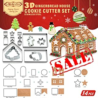 14 PCS- 3D Gingerbread House Cookie Cutter Set (Stainless Steel)| Chocolate House Cutouts Cutters Kit | Haunted House FDA Approved, Gift Box Packaging| Christmas Tree/Snowflake/Snowman/Gingerbread Boy