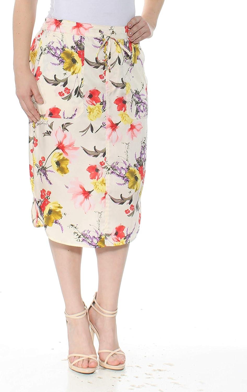 Ralph Lauren Womens Ivory Floral Twill Below The Knee Pencil Wear to Work Skirt Size 4