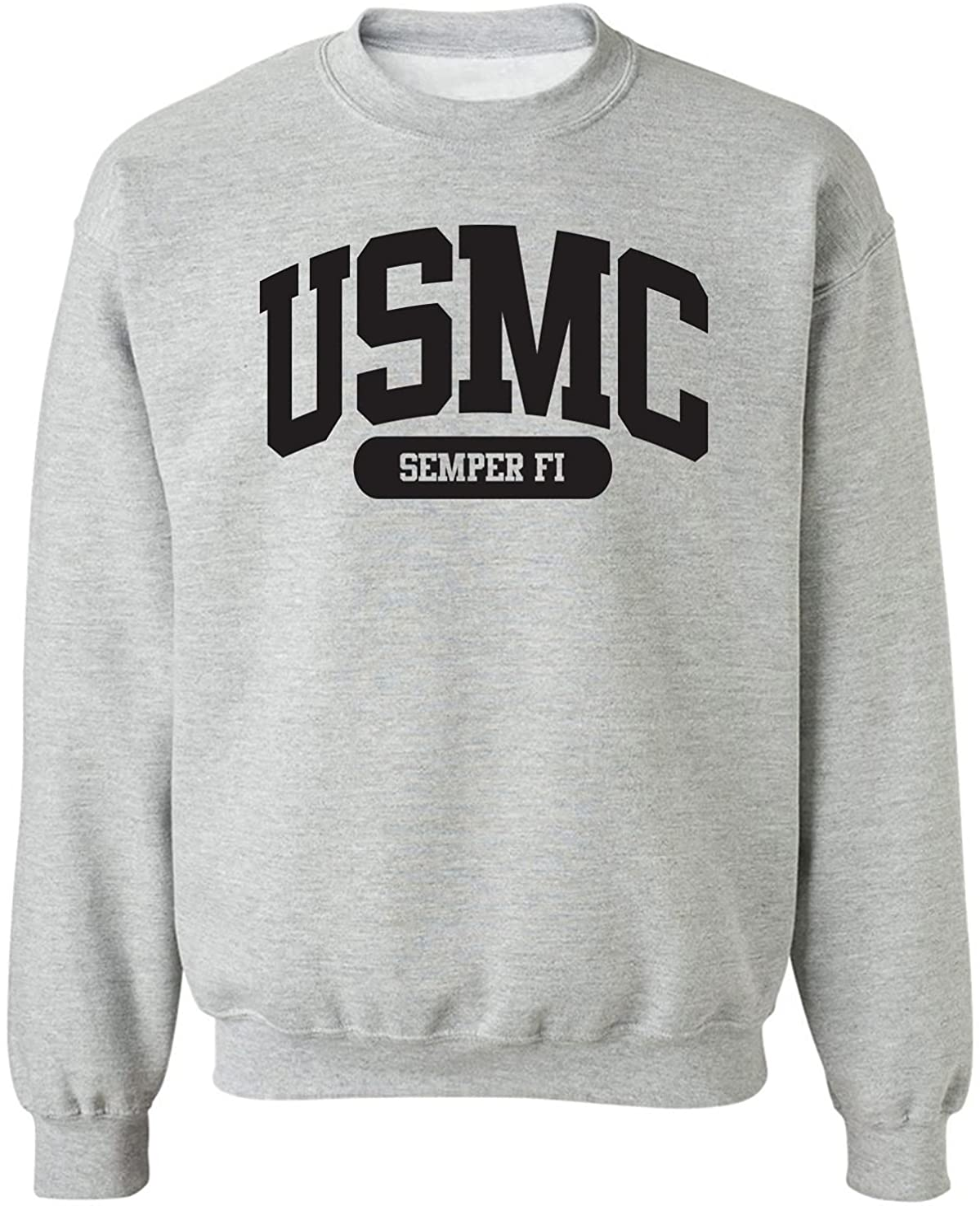USMC Semper Popular brand Fi Inexpensive Crewneck Sport Grey Sweatshirt in