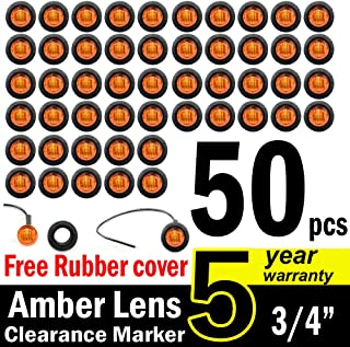 TMH 3/4-Inch Mount Amber LED Trailer Marker Lights, Pack of 50