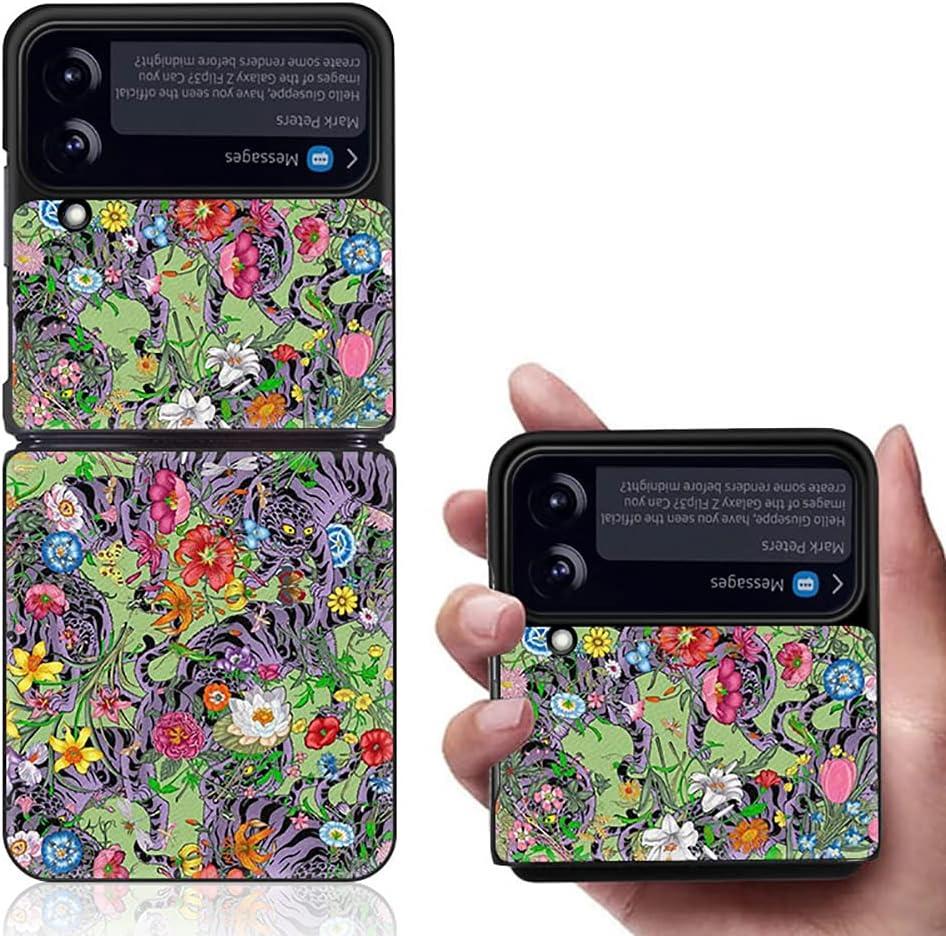 Yatchen Luxury Leather Case Apply to Samsung Galaxy Z Flip 3,Cute Pretty Flower Pattern for Women Dermatoglyph +Hard PC Bumper Flip Protector for Galaxy Z Flip 3 5G 2021 (Tiger)