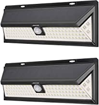 Mr Beams Solar Wedge Plus 102 LED Security Outdoor Motion Sensor Wall Light, 2 pack, Black