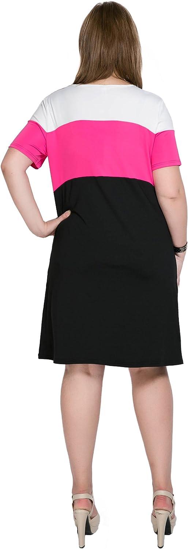 Cute Ann Women's Short Sleeve Color Block Plus Size Summer Casual T-Shirt Dress