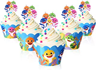 Cute Baby Shark Party Supplies ¨C Cute Shark Cupcake Topper and Wrapper - Set of 24, Birthday Party Supplies, Baby Shark C...
