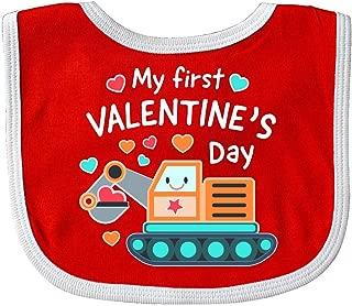 Inktastic My First Valentines Day Steam Shovel Hearts Baby Bib Red/White