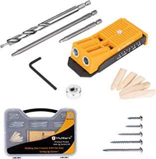 MulWark Premium Pocket Hole Jig System Kit - Including Two Holes Jig, Square Driver Bit, Hex Wrench, Depth Stop Collar, St...