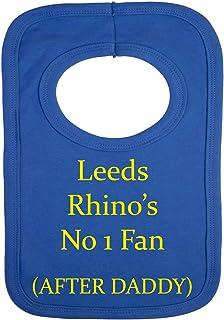 Babero personalizado, con la frase «Leeds rhino's - no 1 fan after daddy» (sin pegatinas) con hermoso bordado
