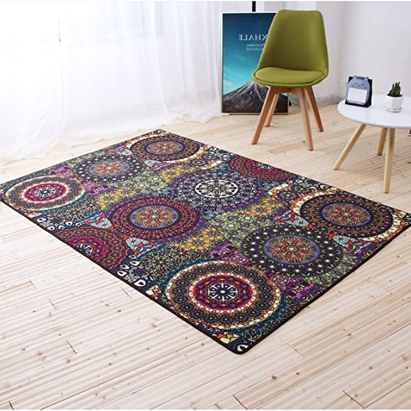 QYLOZ Ethnic Style Living Room Carpet Bedroom Bedside Coffee Table Study Home Creative Full Mat Size 160CM 230CM