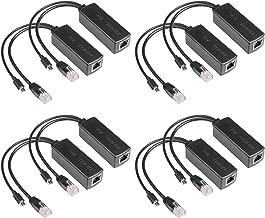8 Pack Active PoE Splitter Power Over Ethernet Micro-USB+RJ45 48V to 5V 2.4A Tablets IEEE 802.3af, Dropcam Raspberry Pi for Surveillance Camera
