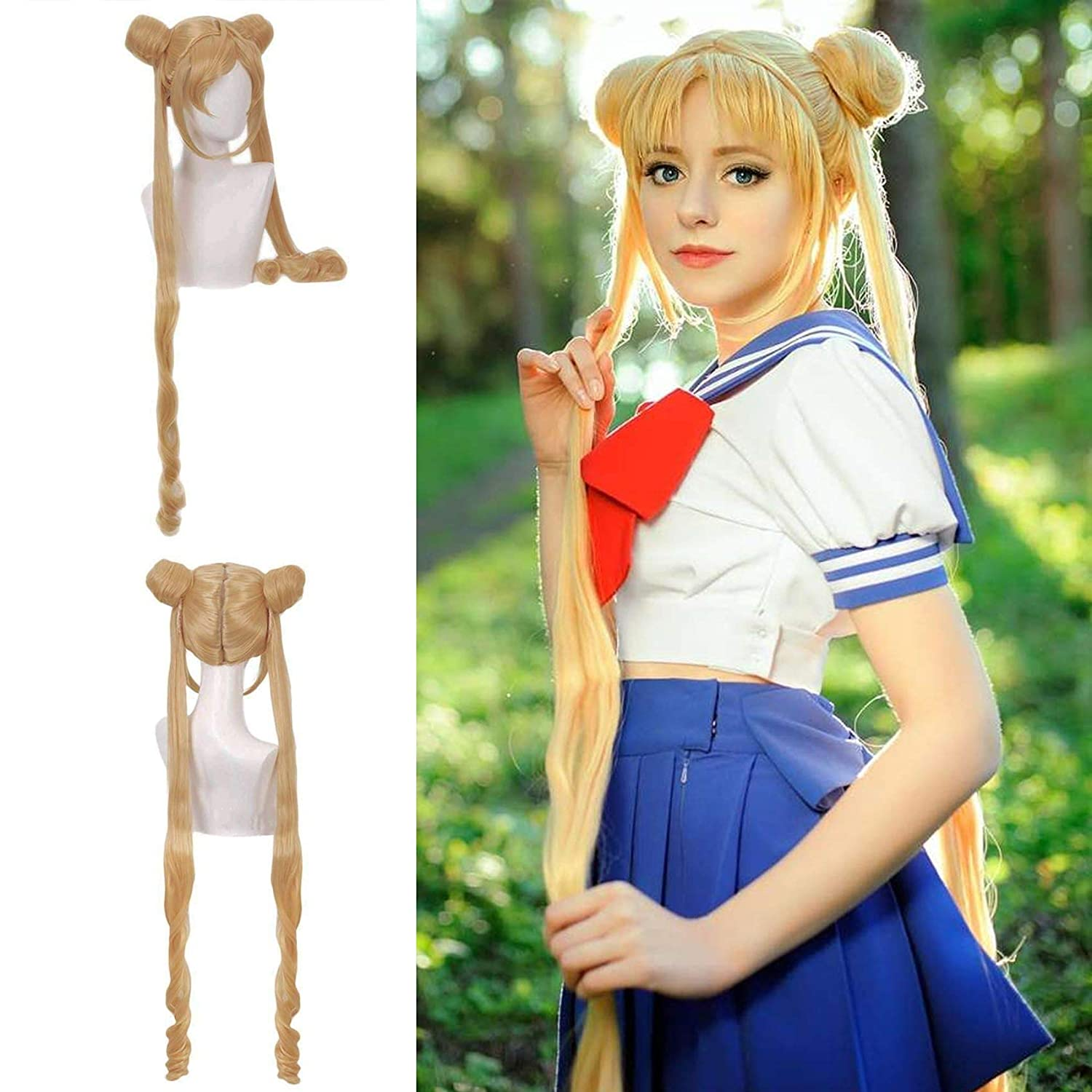 JoneTing Blonde Cosplay Costume Wig Synthetic with Buns Philadelphia Mall Long Nat Ranking TOP19