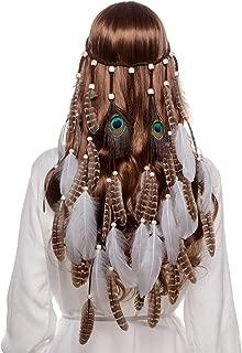 AWAYTR Feather Headband Indian Headpiece - Bohemian Tassels Hair Band Headwear for Women Girls (white)