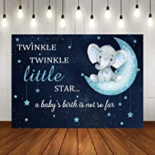 Twinkle Twinkle Little Star Baby Shower Backdrop Blue Elephant Photography Backdrop for Boy 7x5ft Vinyl Background Elephant Themed Party Banner
