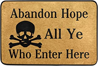 Naanle Entrance Doormat Abandon Hope All Ye Who Enter Here Skull Indoor Door Mat Non-Slip Doormat 23.6 by 15.7 Inch Interlayer Polyester Machine Washable Polyester Fabric