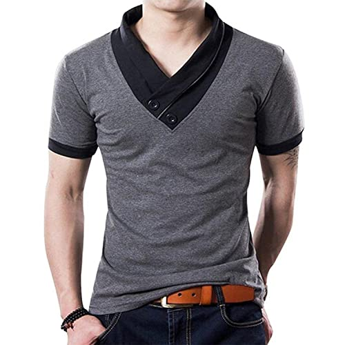 0bfd58865d YTD 100% Cotton Mens Casual V-Neck Button Slim Muscle Tops Tee Short Sleeve