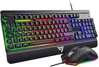 VicTsing Teclado Gaming LED, Teclado y Ratón para Juegos con Cable, Rainbow Retroiluminación con 12 Teclas Multimedia y 19 Teclas Anti-ghosting, Raton Gaming Programable 6 Botón dpi 3200 Ajustable