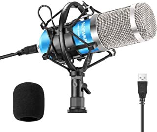 Neewer USB Microphone 192KHZ/24Bit Plug & Play Computer Cardioid Mic Podcast Condenser Microphone with Professional Sound Chipset for PC Karaoke/Livestreaming/YouTube/Gaming Recording/Voice Over(Blue)
