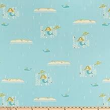 Birch Organic Fabrics Birch Organic Storyboek Drie Mermaids Fabric, 1, Sky, Fabric by the Yard