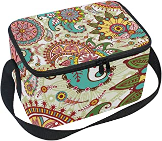 MASSIKOA Paisley And Flowers Insulated Lunch Bag Lunch Box Cooler Tote Bag for Men Women Kids