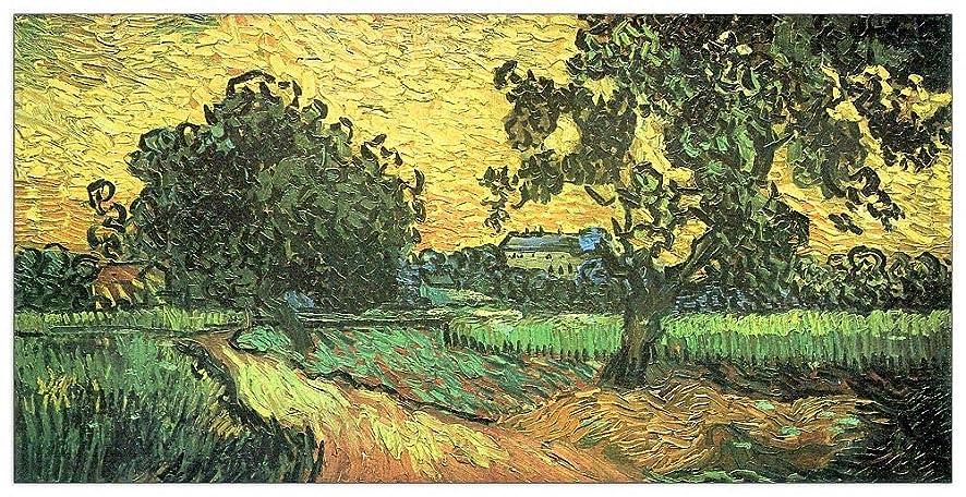 ArtPlaza TW91118 Van Gogh Vincent - Landscape with Castle Auvers at Sunset Decorative Panel 43.5x23.5 Inch Multicolored
