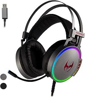 ETWAR Auriculares USB 7.1 con sonido envolvente para videojuegos con micrófono USB para juegos con iluminación para PC PS/4 auriculares USB para ordenador portátil Mac, auriculares para juegos con micrófono con cancelación de ruido