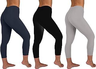 1914733ece7c6 Sexy Basics Womens 3 Pack Active Yoga Workout Capri Cropped Cotton Stretch  Leggings