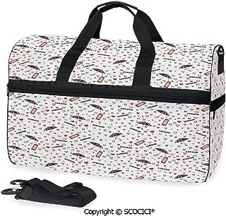 Medium Weekend Duffel Bag European Vacation Travel Theme British (One Size)