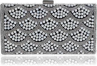 DIEBELLAU Women's Flower Evening Bag Ladies Fashion Banquet Handbag Evening Clutch Bag (Color : Black, Size : XS)