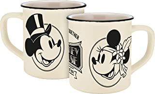 Disney Mickey Mouse 13755 Disney Mickey & Minnie Vintage Forever Together Enamel Look Mug Porcelain Coffee Cup Ceramic Beige