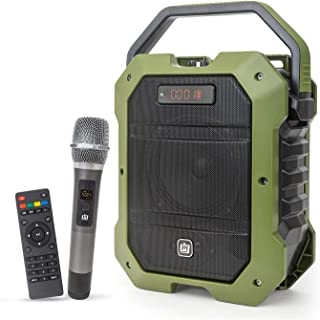 Deco Gear Portable Wireless PA Speaker System with Wireless Microphone - 80W Power and Rechargeable 5000 mAh Battery - Built in Equalizer, Radio, Aux and USB Ports (Single Speaker)