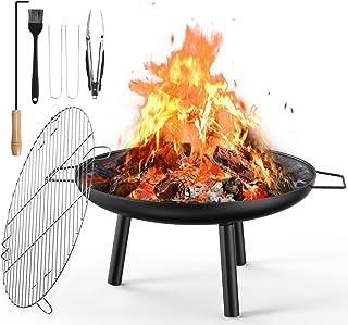 Brasero Terrasse, 60cm Brasero Fonte Exterieur pour Chauffage de Jardin et Barbecue avec Gril, Pinces à Barbecue, Poker po...