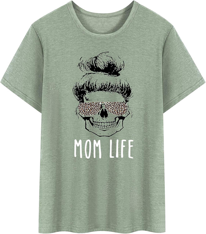 Dresswel Damen Mom Life T-Shirt Leopard Sonnenbrille Grafik Schädel Kurzarm Lustig Tops Tee Shirt für Frauen Oberteile Olive