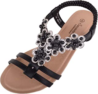 ABSOLUTE FOOTWEAR Womens Holiday/Summer Wedge Sandals/Shoes with Floral Design