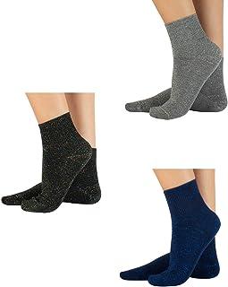 3 Pares Calcetines de Algodón | Calcetines en Lurex | Calcetines Brillantes | Negro, Azúl, Gris | Calcetería Italiana |