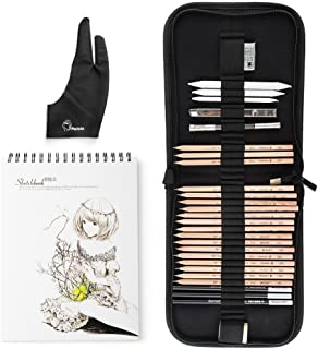 29 Pieces Professional Sketch & Drawing Art Tool Kit With Graphite Pencils, Charcoal Pencils, Paper Erasable Pen, Craft Knife-Lightwish (with Sketchbook, Zipper Case)
