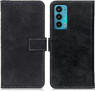 جراب جلدي قلاب أفقي الملمس المغناطيسي لهاتف Motorola Edge 20 مع حامل وفتحات بطاقة ومحفظة اكسسوارات الهاتف الخليوي