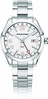 Philip Stein Men's Traveler Swiss-Quartz Watch with Stainless-Steel Strap, Silver, 9 (Model: 92-GMTWRG-SS)