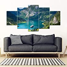 ZTTPCP 150×80cm 5 pieces Modern Home Decor Wall Art Canvas Pictures Modular for Living Room Norway Independence Day Blue Canvas Paintings Poster