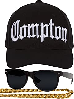 Gravity Trading Compton 80s Rapper Costume Kit - Curved Bill Hat + Sunglases + Chain Necklace Black