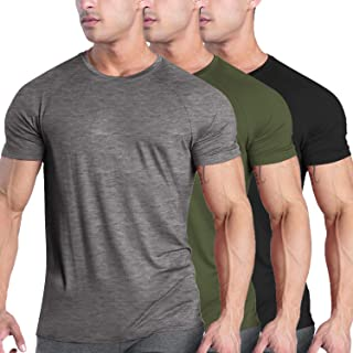 COOFANDY Men's 3 Pack Gym Muscle T Shirts Short Sleeve Sports Workout Bodybuilding Training Base Layer T Shirts