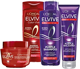 L'Oréal Paris Shampoo + Balsamo + Maschera Biondo, Kit con Shampoo e Balsamo Anti-Giallo Elvive Color Vive Purple, Shampoo...