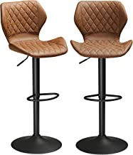 DICTAC Bar Stools Set of 2 PU Leather Bar Stools Pair for Kitchens, Bar Stools, Bar Chairs Breakfast Bar Stools Brown Adju...
