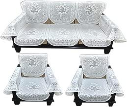 Topaz Furnishings Polycotton Unique Designer Sofa Covers with Arm for 5 Seater Sofa, Set of 12, Cream Colour
