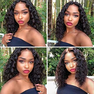 Deep Wave Human Hair Lace Front Wigs Pre Plucked Human Hair Wigs Deep Curly Human Hair Wigs Wet and Wavy Curly Wigs 13x4 Ear to Ear Lace Frontal Deep Curly Wigs (12, Natural Color)