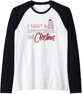 I Want A Hippopotamus For Christmas Hippo Gift Raglan Baseball Tee